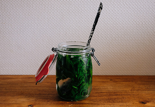 Immerse the spinach in boiling water for one minute before removing and transferring immediately to the iced water.